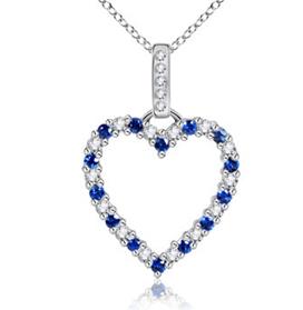 Round Sapphire and Diamond Heart Pendant