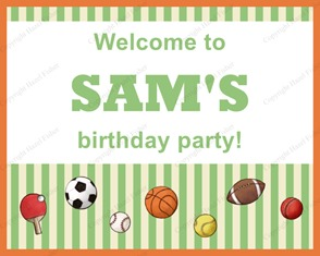 SI001 etsy 2 Ball Games printable welcome birthday party sign