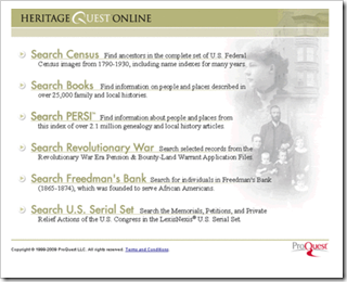 The old HeritageQuest interface