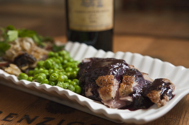 Pan Seared Duck Breast Wine and Blueberry Reduction