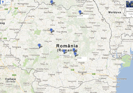 7 wonders of Romania - map