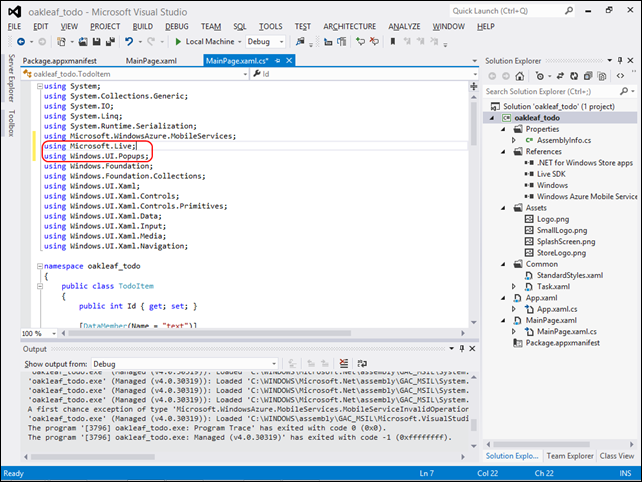 3-2 Add Live SDK namespaces in VS