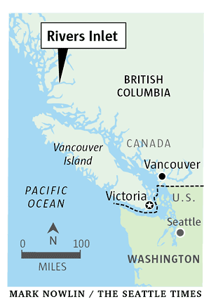 Location of virus-infected sockeye salmon in Rivers Inlet, on the central coast of British Columbia. Mark Nowlin / The Seattle Times