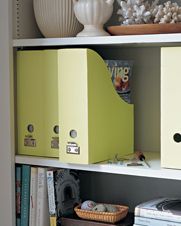Magazine holders are good for keeping old issues in order, but their handleless backs make it difficult to access them when you need to. For a permanent fix, attach a sash lift on the back of a holder.