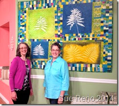 Sue Reno and Susan Brubaker Knapp on the set of Quilting Arts TV