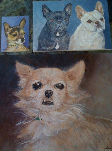 Portraits of Daily Wag authors F & S- and regularly featured pooches Minnow and Pickles- painted by our very own Delia P.!