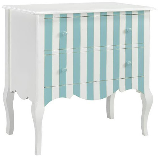 This pretty striped chest can double as a vanity. (homedecorators.com)