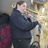 Vanessa Skutt trombones out a song celebrating Halloween