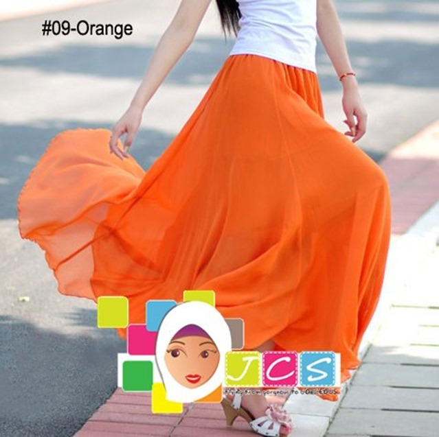 AWESOME CHIFFON CREPE ORANGE