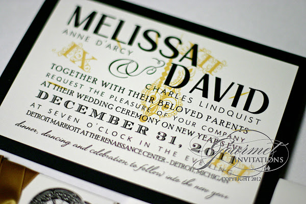 melissa david clock theme new year s eve wedding invitations