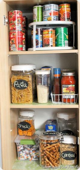 kitchen organization upper shelves