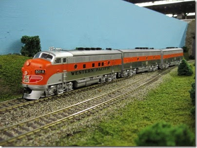 IMG_5474 Western Pacific F3A #801A on the LK&R HO-Scale Layout at the WGH Show in Portland, OR on February 17, 2007