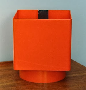 Orange Grosfillex self watering planter side 2