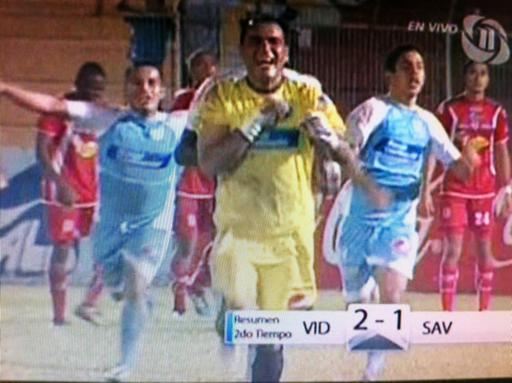 Portero del Deportes Savio, Junior Morales, anota de último minuto