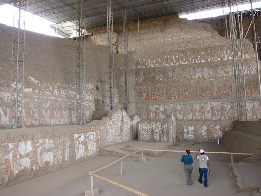 Some of the colorful walls recently excavated at Huaca de la Luna