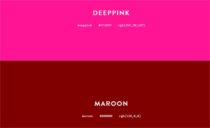 Colours, sitio para ver todos los colores que se pueden usan en sitios web por su nombre