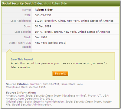 Example SSDI record from Ancestry.com