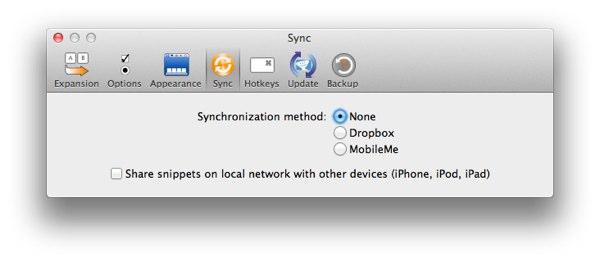 TextExpander Sync Settings 1