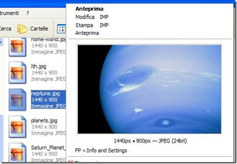 FastPreview anteprima immagine nel menu contestuale del clic destro del mouse