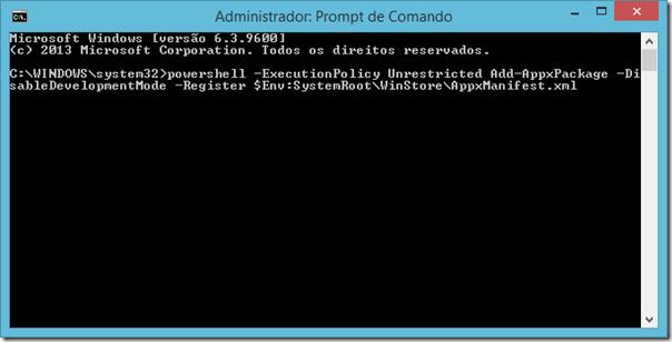 No Prompt de Comando, digite o comando exibido na imagem