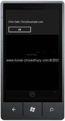 Screenshot 2: How to Retrieve Email Address in WP7 using the EmailAddressChooserTask?