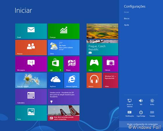 Na interface Metro, mova o mouse para o lado direito da tela até aparecer uma barra lateral. Clique em Configurações e depois em Mudar Configurações do computador