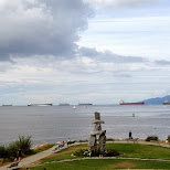 tanker and other cargo ships waiting in the Vancouver bay by Matt van Vuuren in Vancouver, British Columbia, Canada