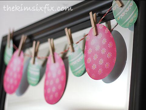 Eggs on clothesline