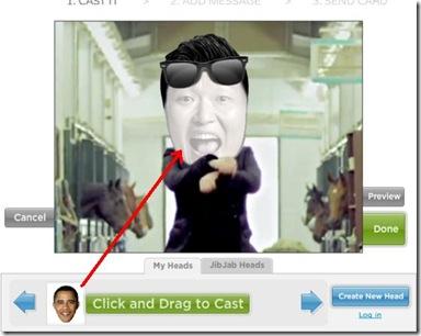 Gagnam Style personalizzato trascinare volto su video