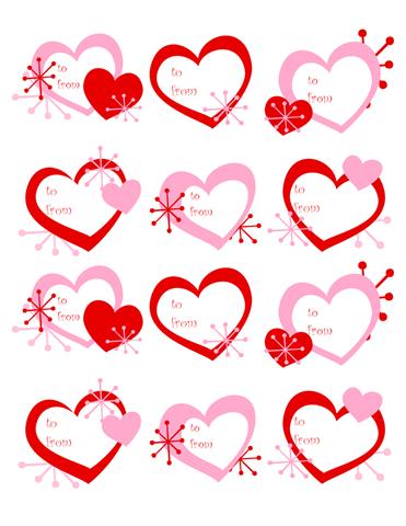 etiquetas de corações