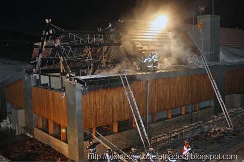 estructura de madera incendio