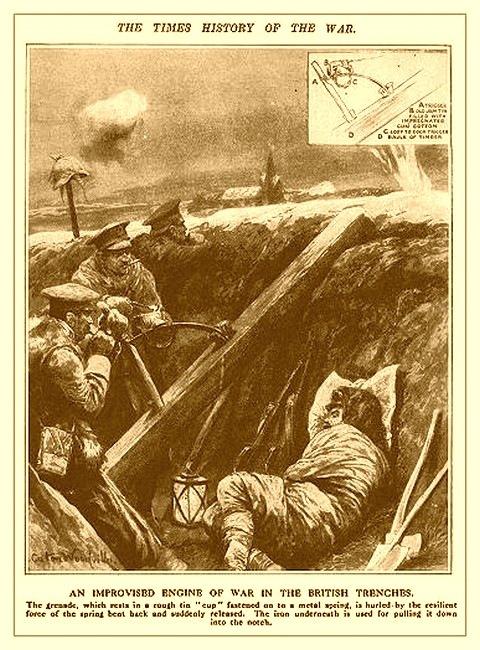 Британская катапульта для гранат времен первой мировой войны