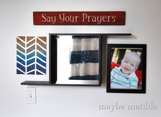 Mirror Vignette with Quick DIY Canvas Art