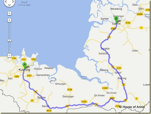 Map from Kuching to Sarikei