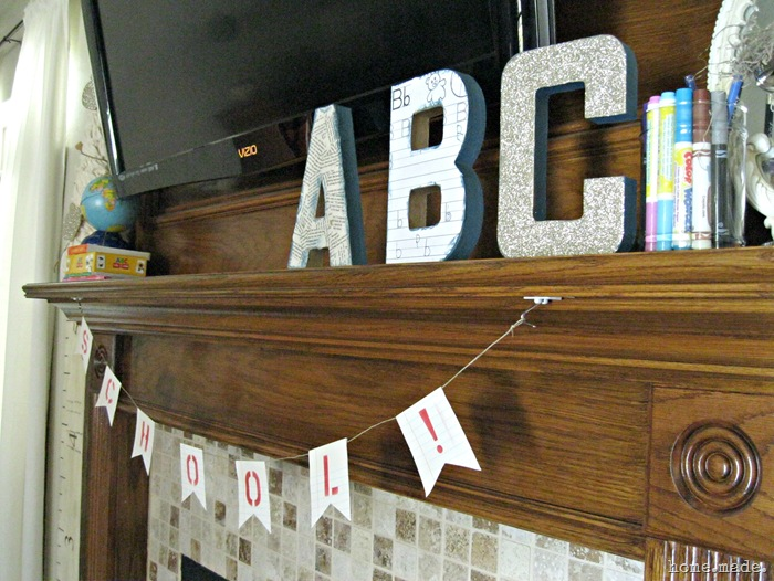 home.made. Back to School Mantle Idea