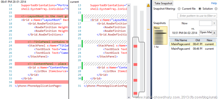 XAML Code Change History in Visual Studio 2013 using Auto History Extension