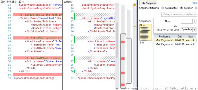 XAML Code Change History in Visual Studio 2013 using Auto History Extension