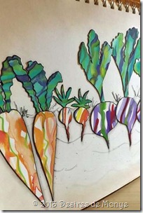 Watercolor puddle veggies