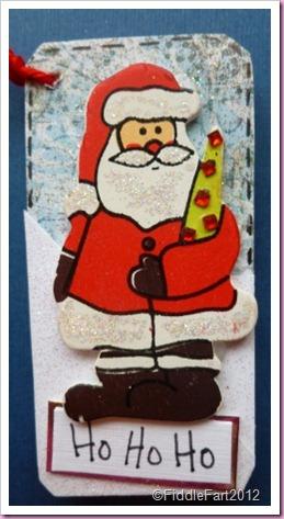 Ho Ho Ho Wooden santa tag