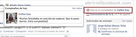Cumpleaños en Facebook