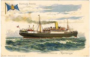 Todos los buques mixtos de la Hamburg America Line, eran del tipo tres islas con una unica chimenea. Colección Arturo Paniagua