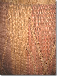 Plimoth Plant indian woven mat inside winter house