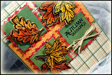 Autumn Blessings, Fall Leaves and Acorn die