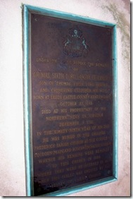 Tablet on top of Lord Fairfax's Tomb, click to enlarge