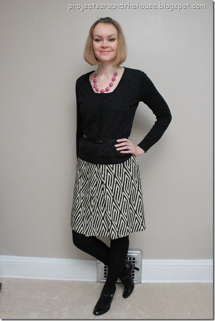 tribal print skirt, lace cardigan