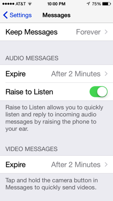 Messages in iOS 8, Settings