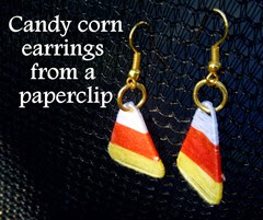 Candy corn earrings from a paperclip