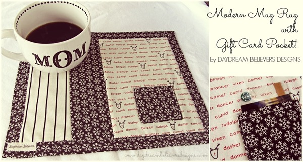 modern mug rug with gift card pocket by daydream believers designs stocking stuff gift exchange gift idea