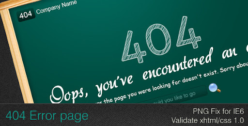 Premium 404 HTML Templates: Green Board 404 Error - Page Not Found