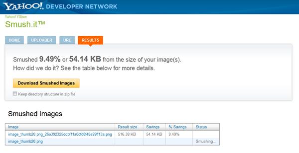 smush.it optimisation de pages web avec Yahoo
